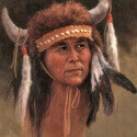 Green, Jean Buffalo Head Dress Oil 14x11 $1,400.