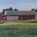 Grosser Debra Joy Church Bells Ringing-Rooster Crowing Oil 10x20 $1200.00