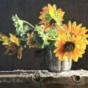Nistler, Eileen Sunflowers in Metal Vase CPencil 11x14 $1,500.