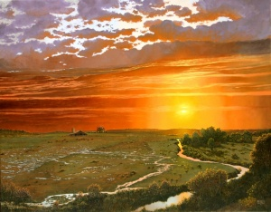 sunset oil painting by Barron Postmus American Plains Artists